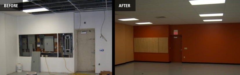 before and after a commercial painting job is finished