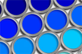 interior painting using blue is a bucket of light and dark blue interior paint cans in a row