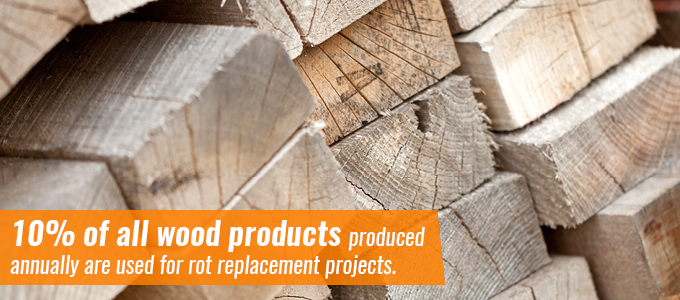 10% of all wood products produced annually are used for rot replacement projects.