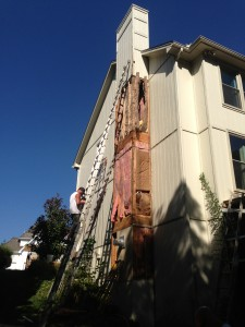 A house in Shawnee, Ks is inspected for wood rot and dry rot