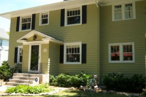 Exterior House Painting. An Olathe Home Is Painted Bright Lime Green With  Bold Black Trim Part 56