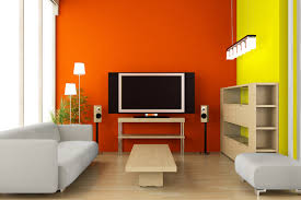 orange and yellow walls show bold color to try and help boost resale value for a new home
