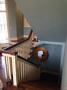 interior paint winding down a stair rail