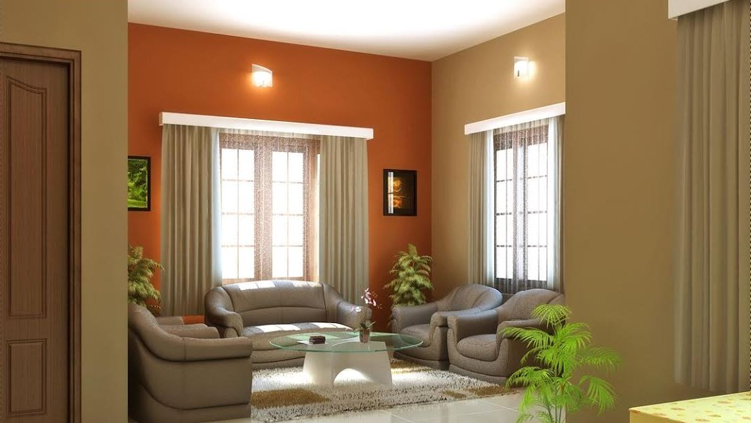 great interior paint improves resale value with bright green walls and tan drapes