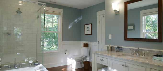green sage adds a relaxing feel to a newly painted bathroom